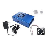 Micro Connectors Aluminum Case Kit with Power Adapter, Fan, HDMI Cable for Raspberry Pi 3 - Blue
