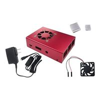Micro Connectors Aluminum Case Kit with Power Adapter, Fan, HDMI Cable for Raspberry Pi 3 - Red