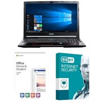 MSI GP63 Leopard-033, Office 2019 Home and Student, 3 Year ESET Internet Security, Laptop Bundle