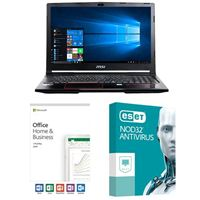 MSI GP63 Leopard-033, Office 2019 Home and Business, 2 Year NOD32 Antivirus, Laptop Bundle