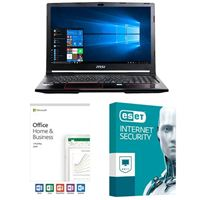 MSI GP63 Leopard-033, Office 2019 Home and Business, 3 Year ESET Internet Security, Laptop Bundle