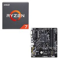 AMD Ryzen 7 2700 with Wraith Spire Cooler, Gigabyte B450M DS3H CPU / Motherboard Bundle