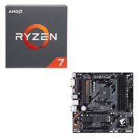 AMD Ryzen 7 2700 with Wraith Spire Cooler, Gigabyte B450 AORUS M CPU / Motherboard Bundle