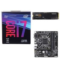 Intel Core i7-8700, Gigabyte B360M DS3H Motherboard, Samsung 970 EVO 1TB M.2 2280 PCIe SSD Computer Build Bundle