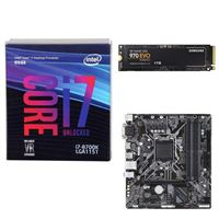 Intel Core i7-8700K, Gigabyte B360M DS3H Motherboard, Samsung 970 EVO 1TB M.2 2280 PCIe SSD Computer Build Bundle