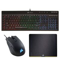 Corsair Gaming Bundle with K55 RGB Membrane Keyboard, Harpoon RGB Illuminated Mouse, and MM200 Mouse Mat