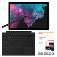 Microsoft Surface Pro 6 Platinum Bundle with Black Signature Type Cover, Black Surface Pen, and Microsoft Office 365 Home - 1 Year