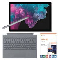 Microsoft Surface Pro 6 Platinum Bundle with Platinum Signature Type Cover, Platinum Surface Pen, and Microsoft Office 365 Home - 1 Year