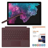 Microsoft Surface Pro 6 Platinum Bundle with Burgundy Signature Type Cover, Burgundy Surface Pen, and Microsoft Office 365 Home - 1 Year