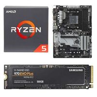 AMD Ryzen 5 2600 with Wraith Stealth Cooler, ASRock B450 PRO4, Samsung 970 EVO+ 500GB M.2 2280 PCIe SSD Bundle