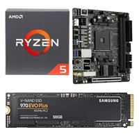 AMD Ryzen 5 2600 with Wraith Stealth Cooler, ASRock Fatal1ty B450 Gaming-ITX/ac, Samsung 970 EVO+ 500GB M.2 2280 PCIe SSD Bundle
