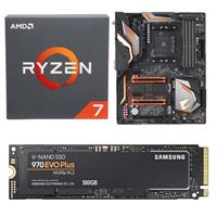 AMD Ryzen 7 2700 with Wraith Spire Cooler, Gigabyte X470 Aorus Gaming 5 WiFi, Samsung 970 EVO+ 500GB M.2 2280 PCIe SSD Bundle