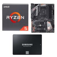 AMD Ryzen 5 2600 with Wraith Stealth Cooler, Gigabyte B450 Aorus Pro WiFi, Samsung 860 EVO 2TB Internal SSD Bundle