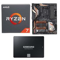 AMD Ryzen 7 2700 with Wraith Spire Cooler, Gigabyte X470 Aorus Gaming 5 WiFi, Samsung 860 EVO 2TB Internal SSD Bundle