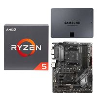 AMD Ryzen 5 2600 with Wraith Stealth Cooler, MSI B450 Tomahawk, Samsung 860 QVO 1TB 4-bit Internal SSD, Computer Build Bundle