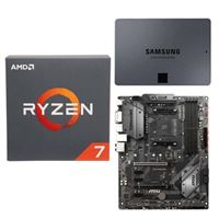 AMD Ryzen 7 2700 with Wraith Spire Cooler, MSI B450 Tomahawk, Samsung 860 QVO 1TB 4-bit Internal SSD, Computer Build Bundle