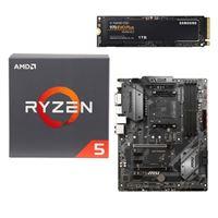 AMD Ryzen 5 2600 with Wraith Stealth Cooler, MSI B450 Tomahawk, Samsung 970 EVO+ 1TB M.2 2280 PCIe SSD, Computer Build Bundle