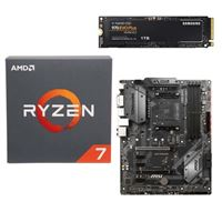AMD Ryzen 7 2700 with Wraith Spire Cooler, MSI B450 Tomahawk, Samsung 970 EVO+ 1TB M.2 2280 PCIe SSD, Computer Build Bundle