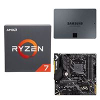 AMD Ryzen 7 2700 with Wraith Spire Cooler, ASUS TUF B450M-PLUS Gaming, Samsung 860 QVO 2TB 4-bit Internal SSD, Computer Build Bundle