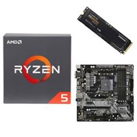 AMD Ryzen 5 2600 with Wraith Stealth Cooler, ASRock B450M Pro4 AM4, Samsung 970 EVO+ 1TB M.2 2280 PCIe SSD, Computer Build Bundle