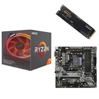 AMD Ryzen 7 2700X with Wraith Prism Cooler, ASRock B450M Pro4 AM4, Samsung 970 EVO+ 1TB M.2 2280 PCIe SSD, Computer Build Bundle