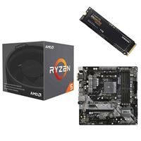 AMD Ryzen 5 2600X with Wraith Spire Cooler, ASRock B450M Pro4 AM4, Samsung 970 EVO+ 1TB M.2 2280 PCIe SSD, Computer Build Bundle