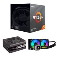 AMD Ryzen 5 3600X, Corsair Hydro H100i Platinum 240mm RGB Water Cooling Kit, Corsair 750 Watt Gold ATX Modular Power Supply, Computer Build Bundle