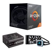 AMD Ryzen 5 3600X, Corsair Hydro H100i Pro 240mm RGB Water Cooling Kit, Corsair 850 Watt Gold ATX Modular Power Supply, Computer Build Bundle