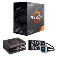 AMD Ryzen 5 3600, Corsair Hydro H100i Pro 240mm RGB Water Cooling Kit, Corsair 850 Watt Gold ATX Modular Power Supply, Computer Build Bundle