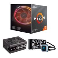 AMD Ryzen 7 3700X, Corsair Hydro H100i Pro 240mm RGB Water Cooling Kit, Corsair 850 Watt Gold ATX Modular Power Supply, Computer Build Bundle