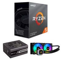AMD Ryzen 5 3600, Corsair Hydro H100i Platinum 240mm RGB Water Cooling Kit, Corsair 850 Watt Gold ATX Modular Power Supply, Computer Build Bundle