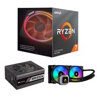 AMD Ryzen 7 3700X, Corsair Hydro H100i Platinum 240mm RGB Water Cooling Kit, Corsair 850 Watt Gold ATX Modular Power Supply, Computer Build Bundle