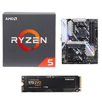 AMD Ryzen 5 2600 with Wraith Stealth Cooler, Prime X470-Pro AM4 ATX AMD Motherboard, Samsung 970 EVO 1TB M.2 2280 PCIe SSD Computer Build Bundle