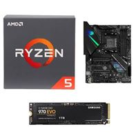 AMD Ryzen 5 2600 with Wraith Stealth Cooler, ASUS ROG Strix X470-F Gaming Motherboard, Samsung 970 EVO 1TB M.2 2280 PCIe SSD Computer Build Bundle