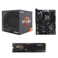 AMD Ryzen 5 2600X with Wraith Spire Cooler, ASUS ROG STRIX B450-F Gaming Motherboard, Samsung 970 EVO 1TB M.2 2280 PCIe SSD Computer Build Bundle