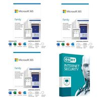 Microsoft 365 Family Bundle - Three 1 Year, Up to 6 People Subscriptions bundled with ESET Internet Security - 1 Device, 3 Year Subscription