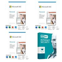 Microsoft 365 Personal Bundle - Three 1 Year, 1 Person Subscriptions bundled with ESET Internet Security - 1 Device, 3 Year Subscription
